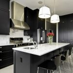 Black And White Kitchen Grey Wall White Backsplash And Countertop Black Cabinets Black Kitchen Island Black Bar Stools Flowers Big Pendants