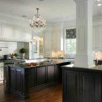 Black And White Kitchen White Kitchen Cabinet Black Kitchen Island Wood Flooring Chandelier Large Kitchen Window With Valance