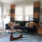 Black Brown Horizontal Striped Curtain