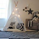 Boys' Playroom Idea Monochromatic Fabric Area Rugs White Decorative Tent Dark Beige Corner Sofa Beige Walls With Sea Animal Decorations