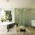 Built In Granite Tub Glass Window Tiled Floor Frosted Glass Door Floating Vanity Glass Sink Recessed Lights Bathroom Lights