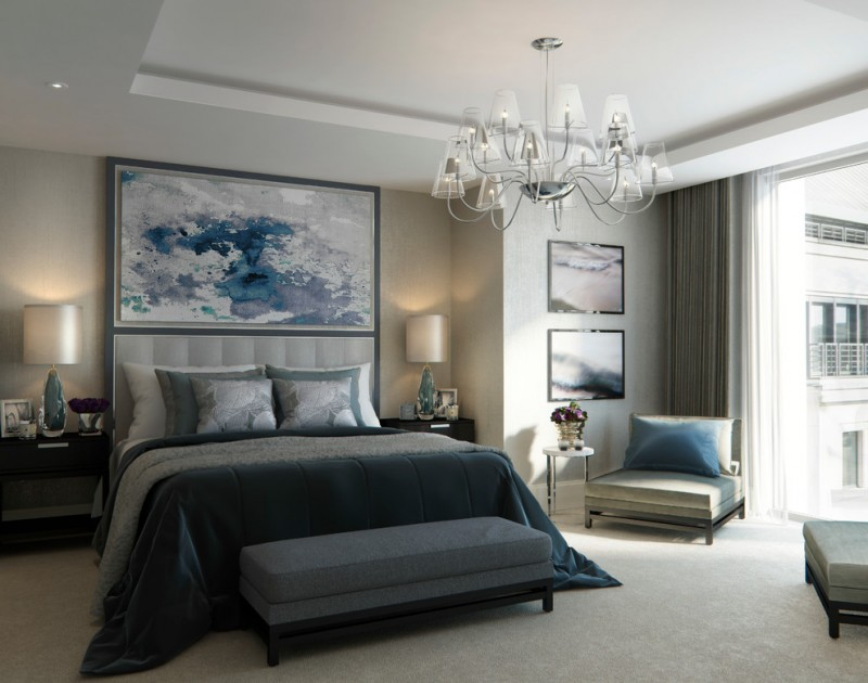 candice olson bedding blue and grey bedding black low bed base beautiful glass cup chandelier large glass window and door
