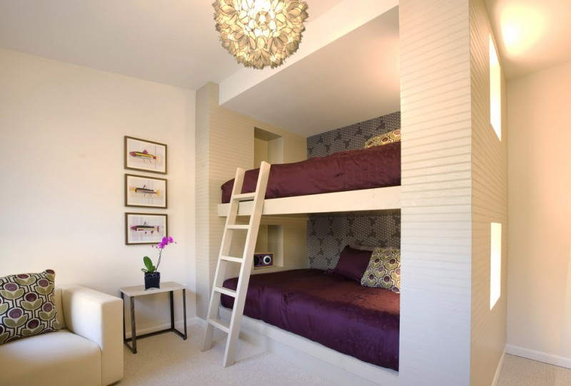 concrete made bunk bed with white ladder purple bedding idea small bedside table with black iron legs single couch in white