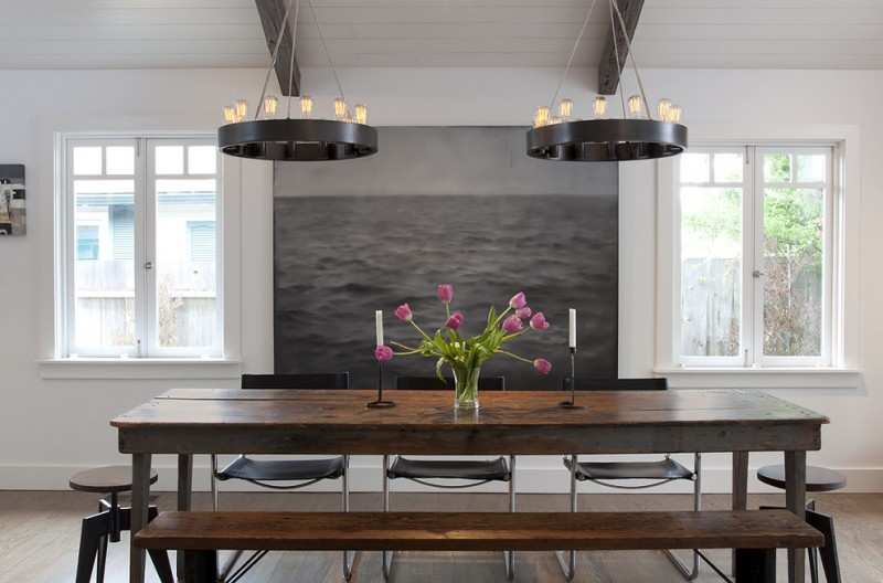 contemporary dining room with white walls and dark hardwood floors kitchen benches and chairs chandelier lights white painted deck wooden floors