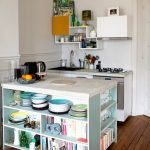 Contemporary Kitchen In Small Size Corner Modern Industrial Kitchen Shelving In White Small Corner I Shape Countertop Small Kitchen Island With Lower Open Storage Space Medium Toned Wood Board Floors