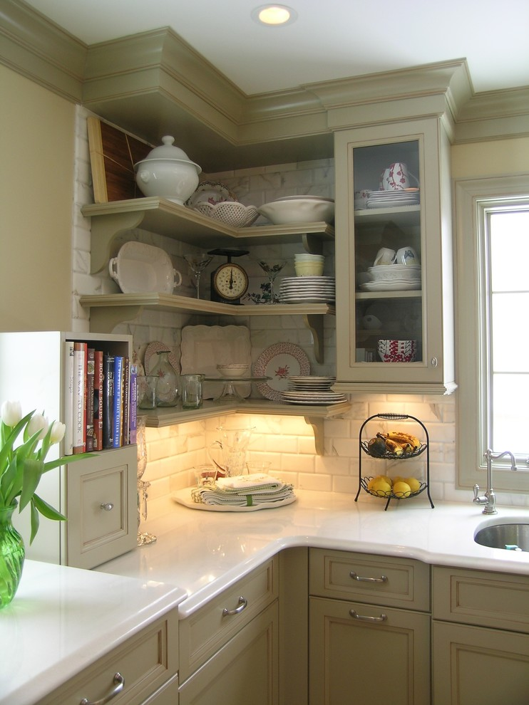 corner cabinet & shelves with edge moldings feature