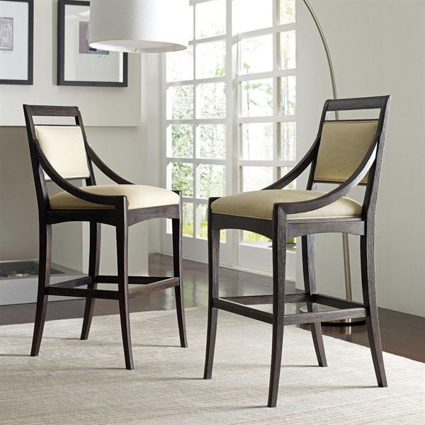 dark hardwood bar chairs with green foam comforters modern standing lamp with white shade