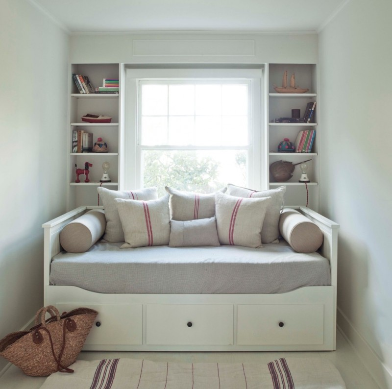 daybed furniture with under storage grey mattress cover grey accent pillows grey bolsters, recessed shelves centered glass window