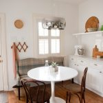 Dining Set With White Round Table, Wooden Chairs, Bench With Green Plaided Cushion