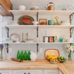 Eclectic Kitchen Design With Mix Country Industrial Open Shelving In White L Shape Butcher Block Countertop White Cabinets Textured White Backsplash Light Blue Walls