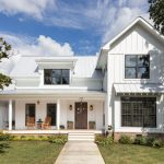 Farm Style House Plans White Home Black Framed Glass Windows Window Shutterts Front Porch Swing Bed Lantrens Traditional Wooden Armchair
