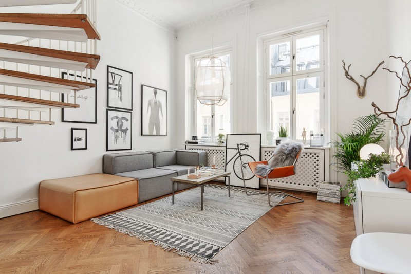 formal & minimalist living room grey couch with soft brown additonal seat grey tribal area rug modern orange chair white walls with glass windows and black white decorative photographs medium toned wood