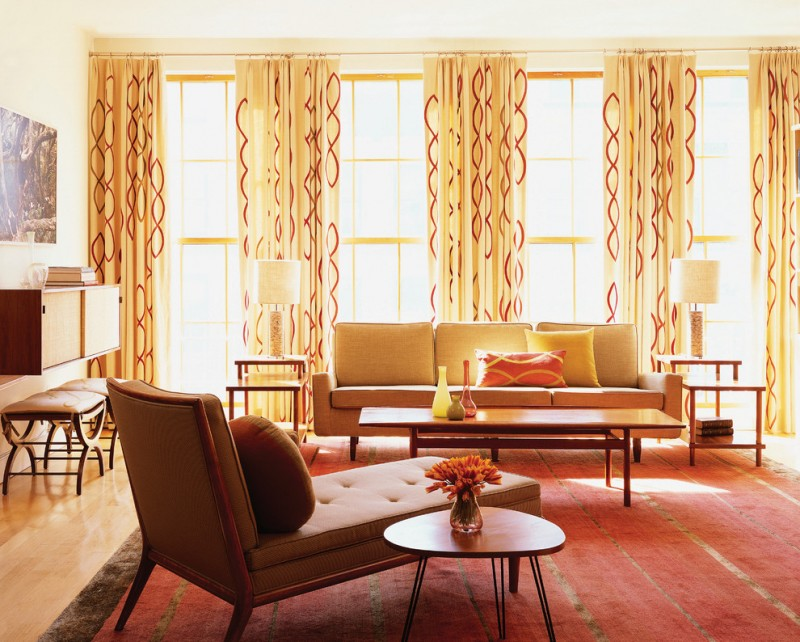 geometrical fiery red pattern on yellow white curtain