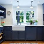 good colors to paint a kitchen beautiful floor dark blue cabinets shelves white wall window cool lamps sink faucet decorative plants ceiling lights traditional room