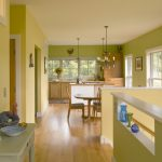 Good Colors To Paint A Kitchen Beautiful Floor Green Walls Yellow Wall Chandelier Chairs Table Windows Farmhouse Room