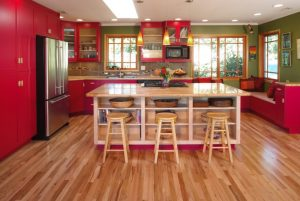 good colors to paint a kitchen beautiful floor red cabinets green walls ceiling lights bench pillows windows island shelves stools flowers traditional room