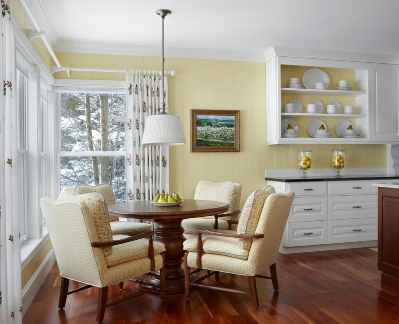 good colors to paint a kitchen beautiful floor round top table chairs windows curtain wall cabinet shelves dark countertop yellow wall traditional room