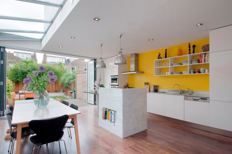 good colors to paint a kitchen beautiful floor table chairs yellow wall shelves cool lamps flowers ceiling lights faucet contemporary room