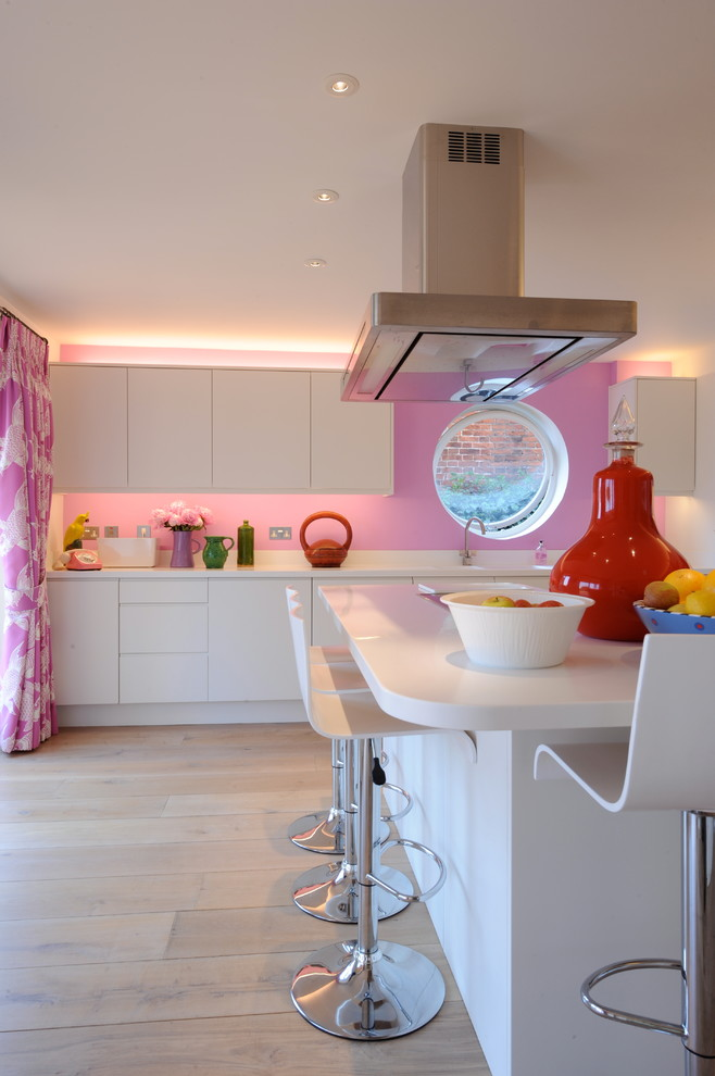 good colors to paint a kitchen cool modern chair round window cabinet flowers curtain ceiling lights pink wall contemporary room