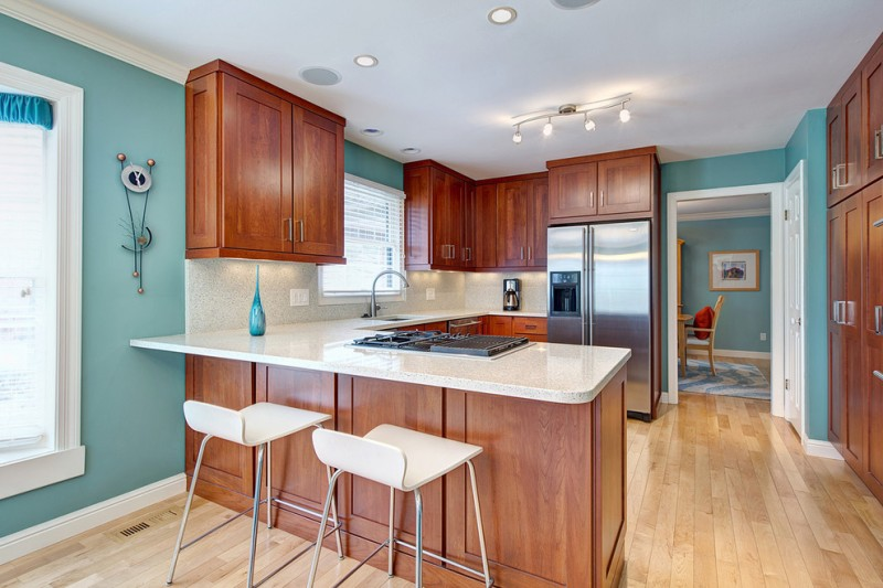 good colors to paint a kitchen egg blue walls windows wall cabinets fridge faucet chairs sink stove ceiling lights cool lamps contemporary style room