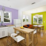 good colors to paint a kitchen purple wall beautiful floor windows fridge table chairs faucet sink shelves books contemporary room