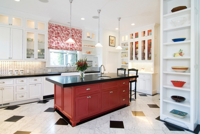 good colors to paint a kitchen shelves wall cabinets cool floor red island dark countertops window cool lighting glass front cabinet backsplash flowers traditional room