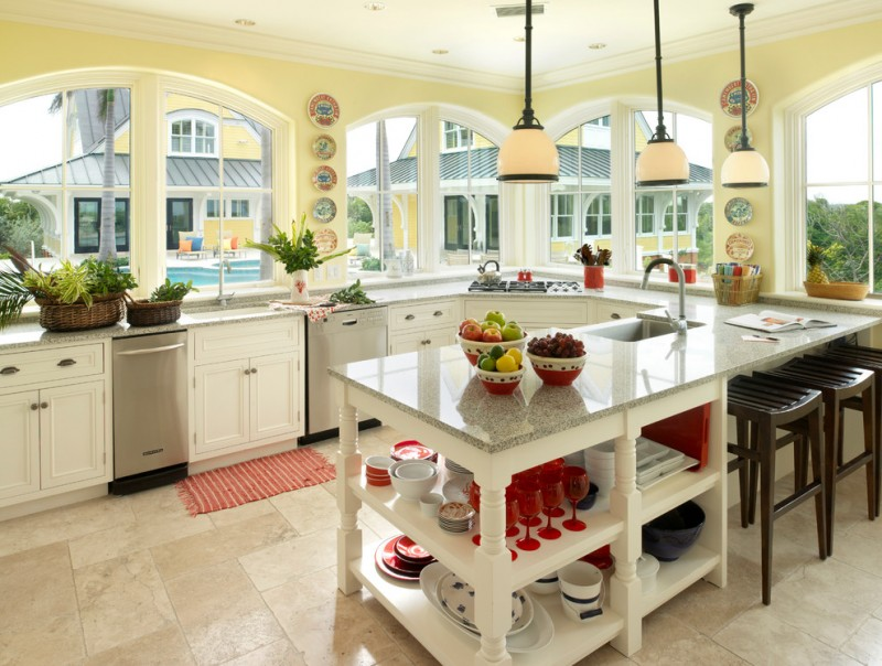 good colors to paint a kitchen stools big windows island sink faucet plates cool lamps decorative plant yellow wall tropical room