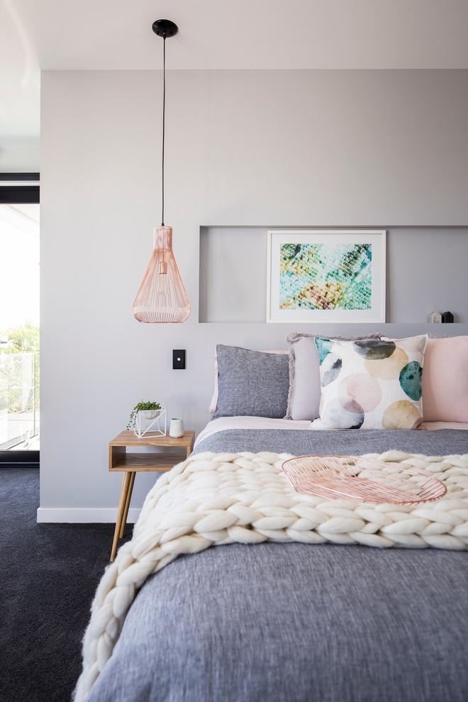 hanging lights for bedroom bedside table bedding carpet framed painting grey walls contemporary design