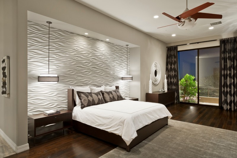 hanging lights for bedroom hardwood floors carpet window wall curtains ceiling lights fan textured tiles bed sidetables contemporary design