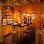 Home Bar Setup Two Handle Bridge Kitchen Faucet With Spray Hudson Valley Light Pendant Rustic Log Bar Wooden Barstools Rustic Decorations Traditional Wood Cabinet