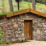 house plans for small homes stone walls wooden door plants on the roof rustic exterior