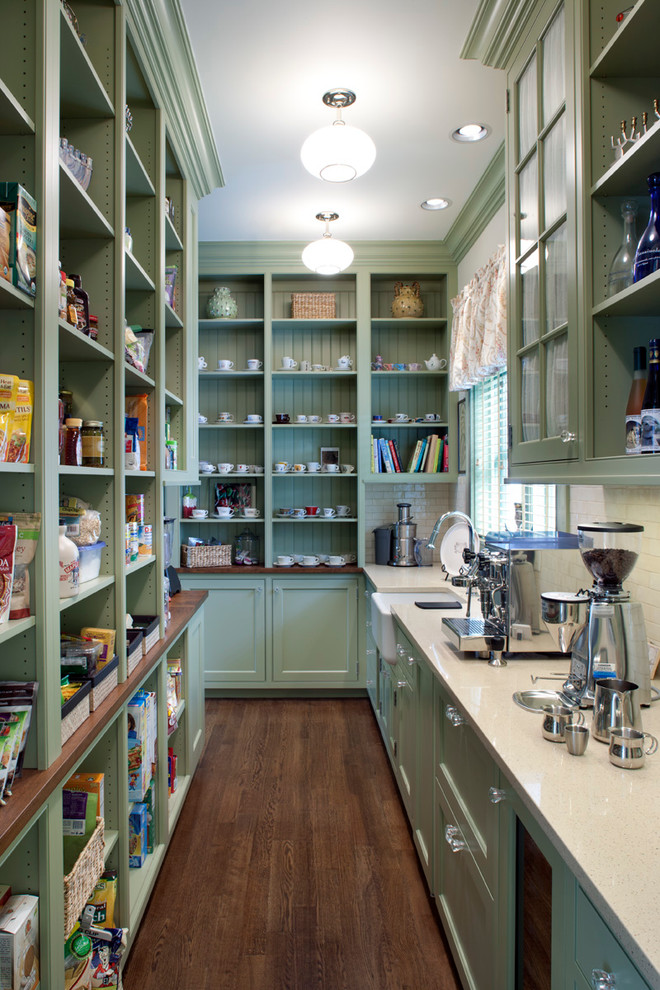 huge industrial kitchen shelves in gray consist of shelving sections lower cabinets dark toned wood floors without finishing white countertop grey upper cabinets with glass door