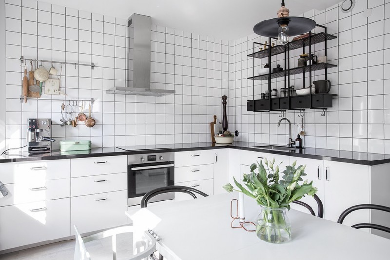 industrial black metal kitchen shelving unit made of lightweight metal white ceramic tiles walls gloss & solid black countertop white flat paneled cabinets