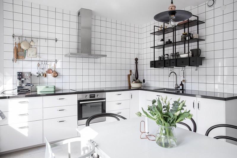 Black Metal Kitchen Shelving Unit Made Of Lightweight White Ceramic Tiles Walls Gloss