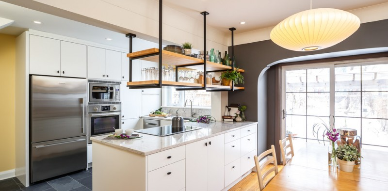 Kitchen Idea With Hanging Shelves L Shaped Countertop In White Stainless Steel Liances