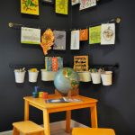 Kids' Room Idea Corner Racks With Hung Kids' Artworks Fun & Bright Kids' Furniture Set Dark Toned Walls