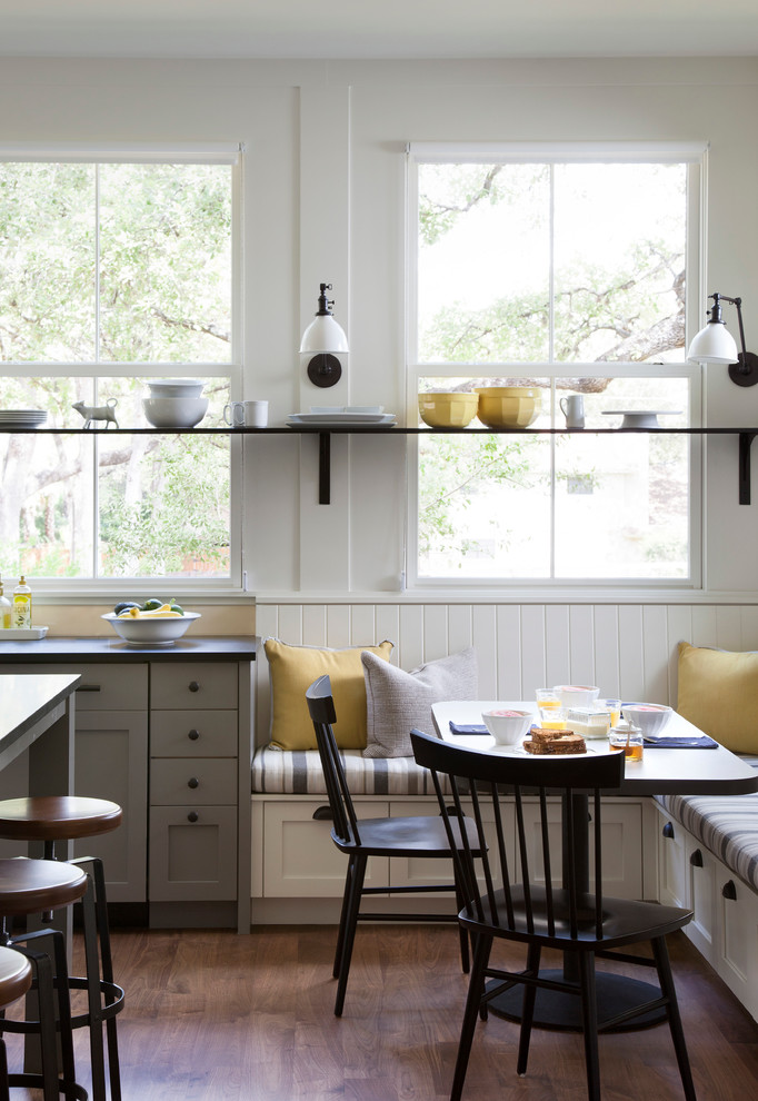 kitchen corner bench seating chairs beautiful floor stools pillows windows long shelf cool lamps farmhouse room