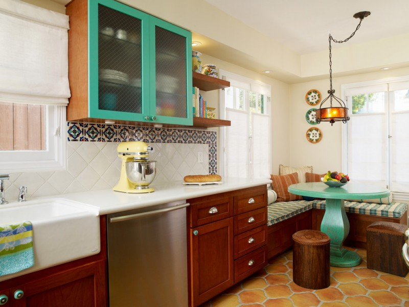 kitchen corner bench seating cool floor beautiful lamp sink wall cabinet pillows table shelves ceiling lights mediterranean room