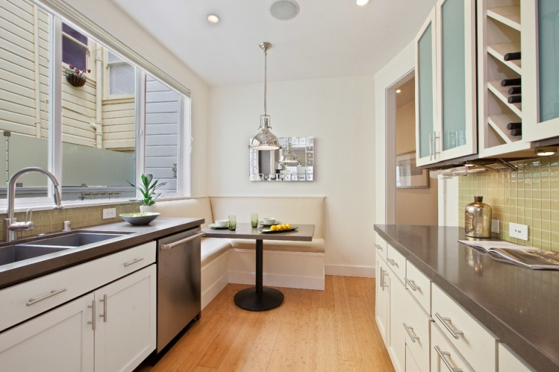 kitchen corner bench seating sink big windows hanging lamp table ceiling lights wall cabinet contemporary room