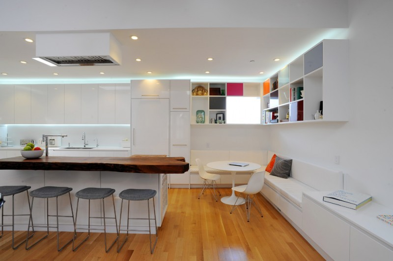 kitchen corner bench seating stools chairs table ceiling lights shelves cabinets modern room island
