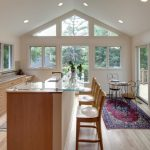 Kitchen Island With Added Glass Surface For The Bar Seating, Wooden Bar Stool With Backs