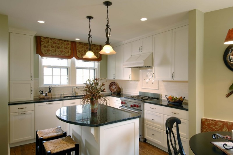 kitchen with white cabinet and white kitchen island with green marble counter top, black wooden stool with rattan top