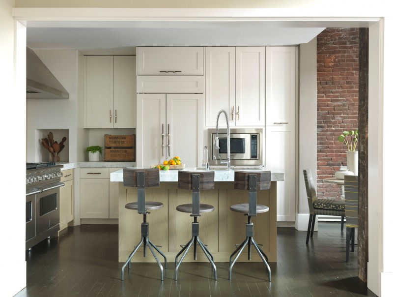 kitchen with white marble top kitchen island with dark wooden bar stools with 4 feet