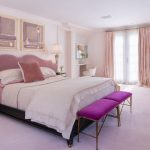 Light Pink Bed With Wider Pink Headboard A Couple Of Purple Bench Beds Light Pink Draperies Light Pink Walls Light Pink Floors White Sofa Slipcover White Vanity Chair