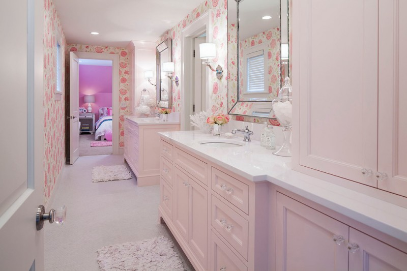 martha stewart vanity hudson valley lighting garrison transitional wall sconce pink rose arrangement in pink vase chic mirrors
