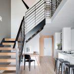 metal stair stringers  artwork hardwood floors desk chair stools cabinet buffet island door scandinavian design