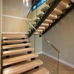 metal stair stringers glass pendant hardwood floors staircase contemporary design
