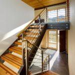 Metal Stair Stringers Hardwood Floors Treads Railing Door Windows Ceiling Modern Design