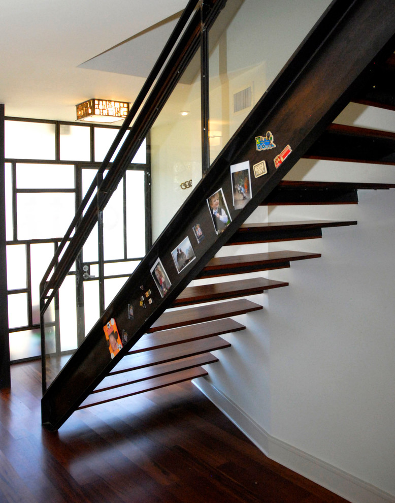 metal stair stringers hardwood floors window pendant floating treads contemporary design