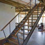 metal stair stringers open tread dark floors sofa stool chair railing industrial design